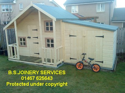 Wooden shed with veranda info nanda for Wooden playhouse with garage